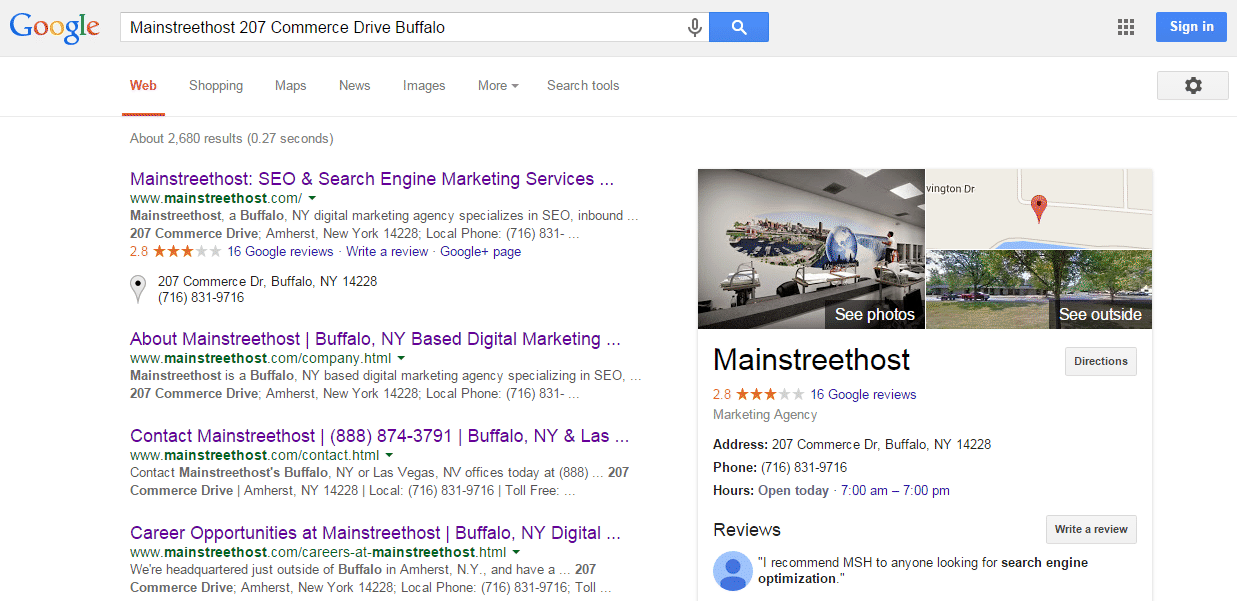 Mainstreethost Google Search Result