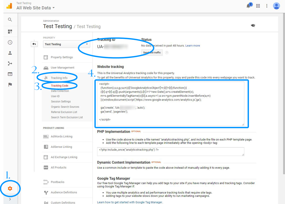 Finding Your Tracking Code in Google Analytics