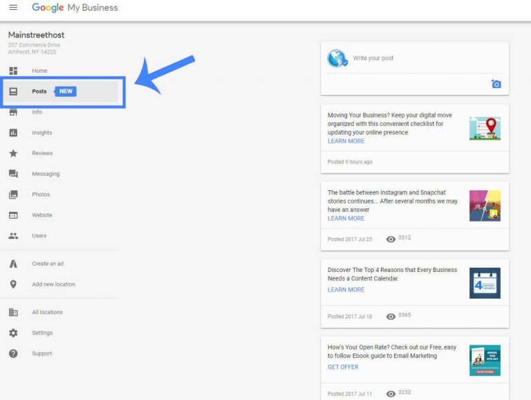 Google Posts Menu